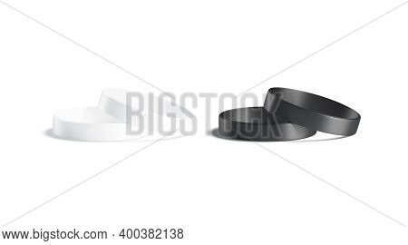 Blank Black And White Silicone Wristband Mock Up Lying, Isolated, 3d Rendering. Empty Round Silicon