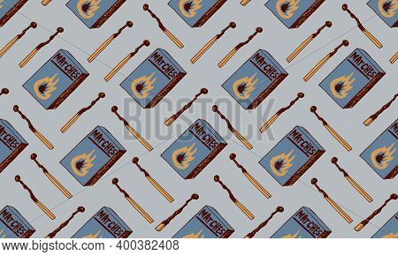 Hand Drawn Doodle Seamless Pattern With Matches. Burnt Wooden Stick. Simple Vector Illustration.