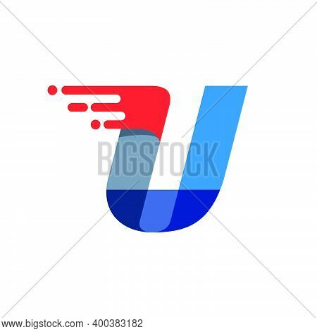 Letter U Fast Speed Motion Logo. Oblique Font With Red Line For Sportswear Labels, Delivery Poster,