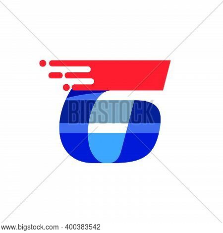 Number Six Fast Speed Motion Logo. Oblique Font With Red Line For Sportswear Labels, Delivery Poster