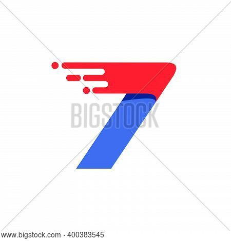 Number Seven Fast Speed Motion Logo. Oblique Font With Red Line For Sportswear Labels, Delivery Post