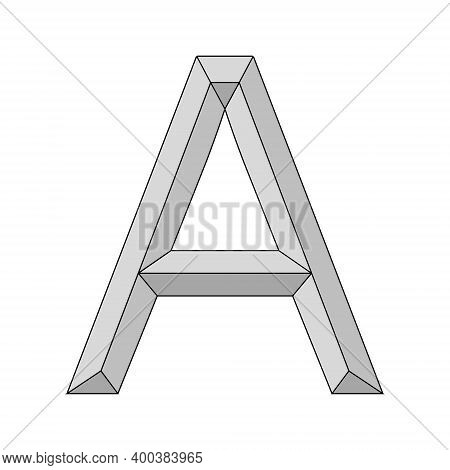 Logo Three Dimensional Letter A, Vector Capital First Letter Of The Alphabet A Symbol Primacy And Or