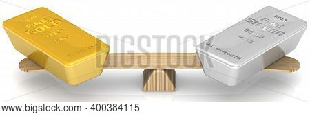 Comparison Of Gold And Silver Bars. Investment In Precious Metals. One Ingot Of 999.9 Fine Gold And