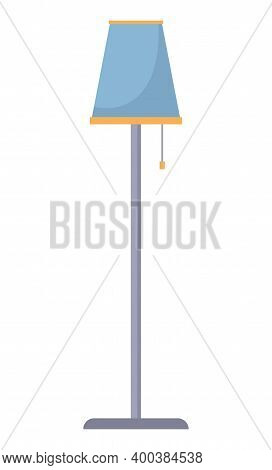 Decorative Floor Lamp Tripod Isolated On The White Background.. Original Sample Model With Blue Coat