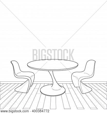 Sketch Of Modern Interior Table And Chairs Vector Illustration
