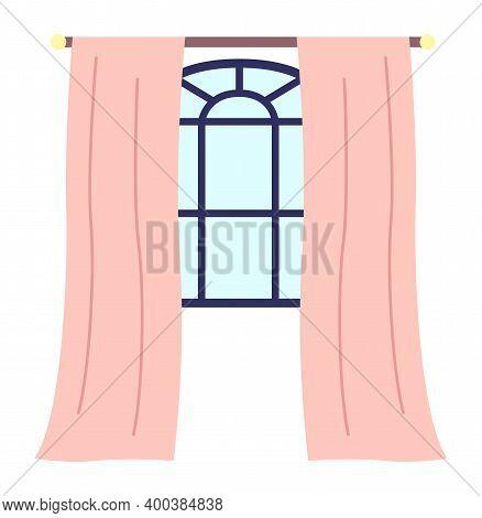 Cartoon Blue Curly Window Frame, Brown Cornice, Pink Curtains. Piece Of Interior. Panoramic Window,