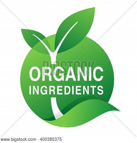 Organic Ingredients Stamp For Natural Components Based Products - Eco-friendly Emblem With Plant Lea