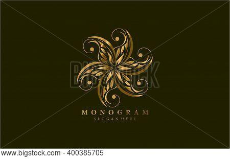 Golden Beauty Flourishes Star Logogram Design Vector