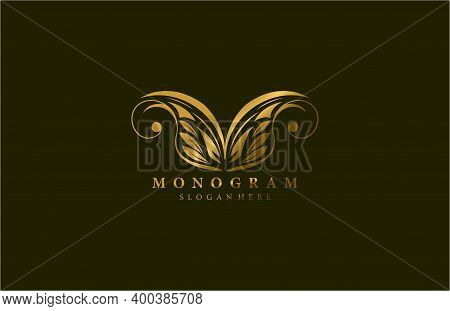 Golden Beauty Flourishes Wings Logogram Vector Design