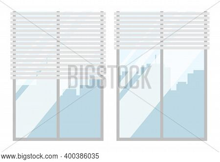 Windows Closed With Light Blinds Flat Vector Illustration. Interior Elements Isolated On White Backg
