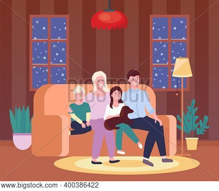 Portrait Of Four Member Family Posing Together Smiling Happy. Illustration Of Mother, Father, Sun, D