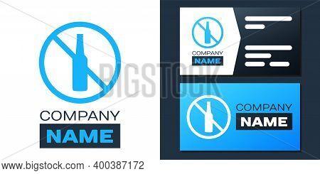 Logotype No Alcohol Icon Isolated On White Background. Prohibiting Alcohol Beverages. Forbidden Symb