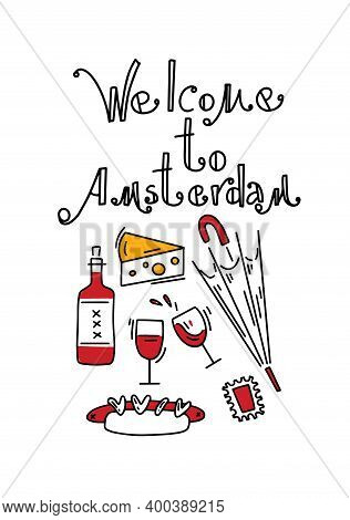 Amsterdam Vector Elements Set. Travel And Tourism Concept. Travel Poster, Postcard. Hand Drawn Sketc