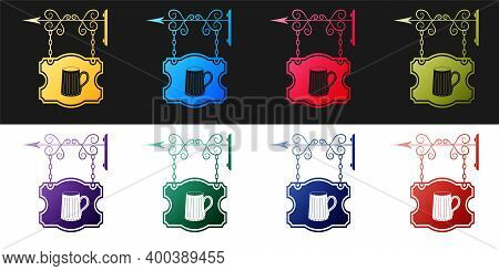 Set Street Signboard On Forged Brackets With Wooden Mug Of Beer Icon Isolated On Black And White Bac