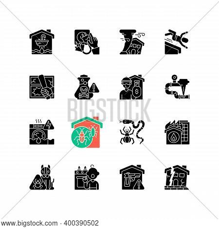 Home Damage Black Glyph Icons Set On White Space. Preventing House Hazards. Flooding, Water Leak. El