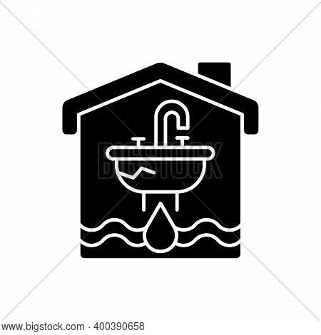 Water Damage Black Glyph Icon. Flooding And Water Leak. Structural, Foundational Damages. Irreparabl