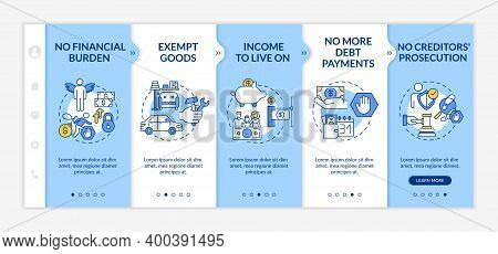 Debt Freedom Onboarding Vector Template. No Financial Burden. Exempt Good. Income To Live On. Respon