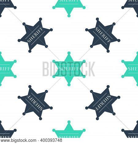Green Hexagonal Sheriff Star Icon Isolated Seamless Pattern On White Background. Sheriff Badge Symbo