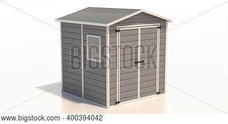 Gardening Tools Storage Shed In The House Backyard Isolated On White Background. 3D Illustration