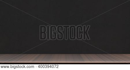 Wooden Board Shelf Or Table Empty Blank Template Dark Black Color Background, Copy Space. Brown Colo