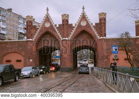 Kaliningrad, Russia - Mar 20, 2017: The Brandenburg Gate. The Brandenburg Gate Is The Only Gate Of K