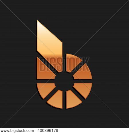 Gold Cryptocurrency Coin Bitshares Bts Icon Isolated On Black Background. Physical Bit Coin. Digital