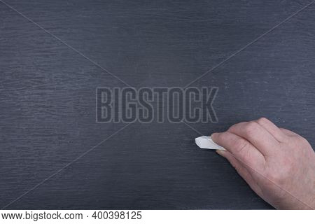 Abstract Texture Of Chalk Rubbed Out On Blackboard Or Chalkboard With A Chalk And Hand