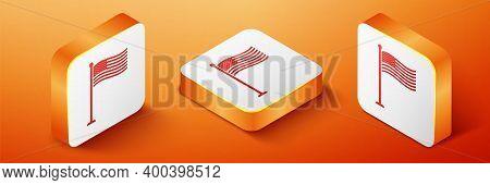 Isometric National Flag Of Usa On Flagpole Icon Isolated On Orange Background. American Flag Sign. O