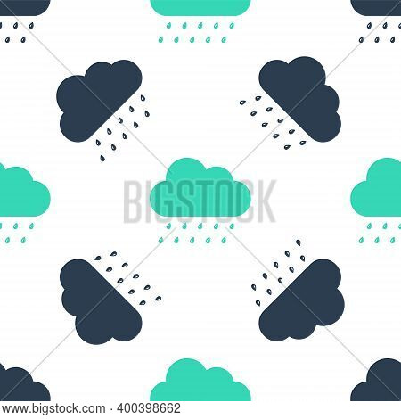 Green Cloud With Rain Icon Isolated Seamless Pattern On White Background. Rain Nimbus Cloud Precipit