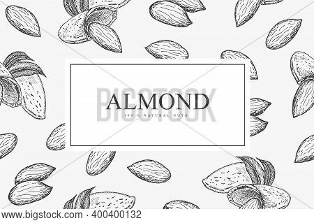 Card With Almond Nuts. Line Art Style.