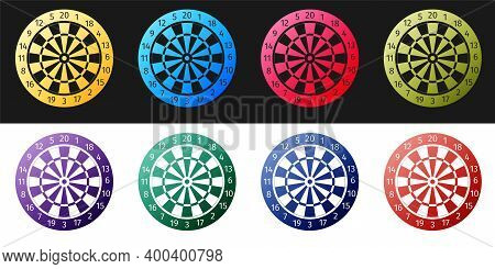Set Classic Darts Board With Twenty Black And White Sectors Icon Isolated On Black And White Backgro