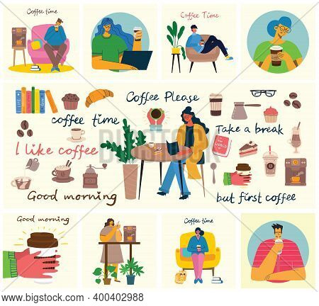 Coffee Set Vector Illustrations. People Spend Their Time In The Cafeteria, Drinking Cappuccino, Latt