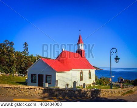 Quebec Province, Canada, Sept 2019, View Of Tadoussac Chapel Known As The Indian Chapel