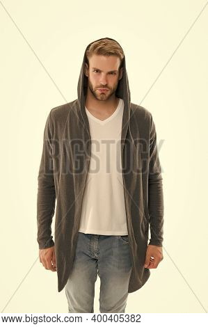 Trend Setter Is Here. Serious Guy Isolated On White. Handsome Guy In Casual Style. Unshaven Guy Wear