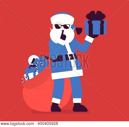 Secret Santa Claus With Present Box Making Hush, Shh Gesture. Anonymous Father Christmas Bringing, S