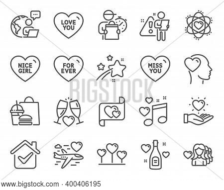 Love Icons Set. Included Icon As Woman Love, Friend, Hold Heart Signs. Honeymoon Travel, Wedding Gla