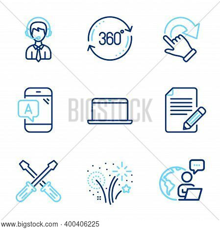 Business Icons Set. Included Icon As Article, Full Rotation, Fireworks Signs. Laptop, Shipping Suppo