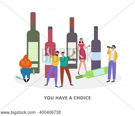 Drunk People With Bad Habits And Alcohol Addiction A Vector Illustration