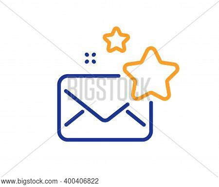 Favorite Mail Line Icon. Letter With Stars Sign. Best Email Symbol. Quality Design Element. Line Sty