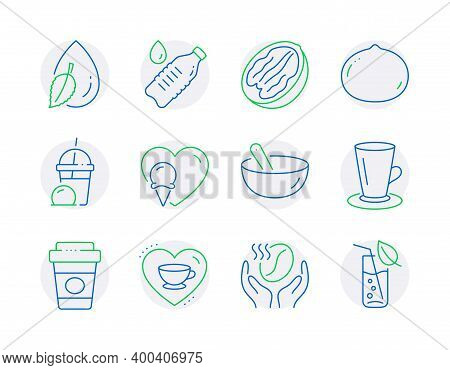Food And Drink Icons Set. Included Icon As Love Coffee, Pecan Nut, Teacup Signs. Cooking Mix, Ice Cr