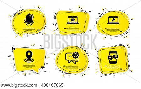 Online Shopping, Employees Messenger And Location Icons Simple Set. Yellow Speech Bubbles With Dotwo