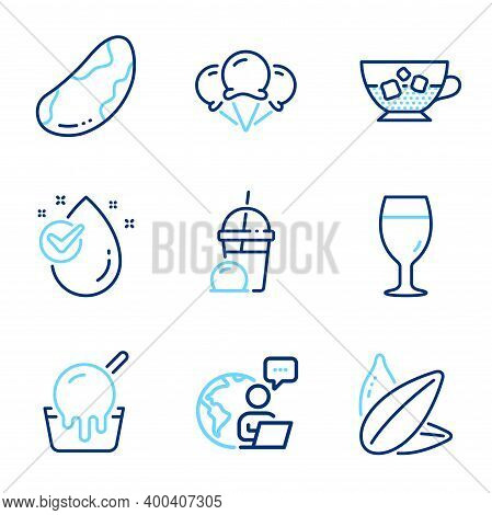 Food And Drink Icons Set. Included Icon As Sunflower Seed, Cold Coffee, Beer Glass Signs. Water Drop