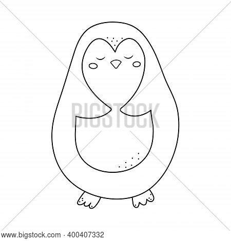 Winter Penguin For Coloring Book. Line Art Design For Kids Coloring Page. Penguin Sketch Illustratio