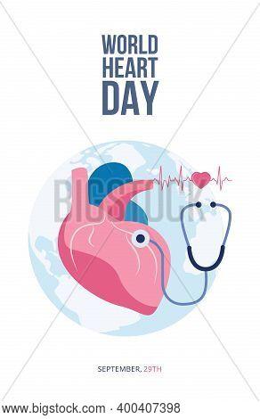 World Heart Day Of Cardiovascular Disease Prevention Flat Vector Illustration.