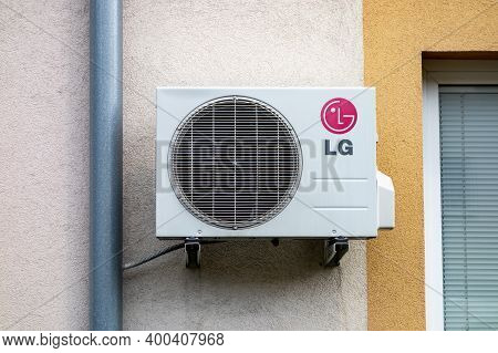 Ostrava, Czech Republic - June 25, 2020: The New Lg Air Conditioning Unit On A Wall Of Modernized Ho