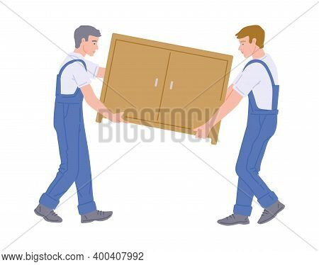 Carpentry And Furniture Manufacturing Workers Flat Vector Illustration Isolated.