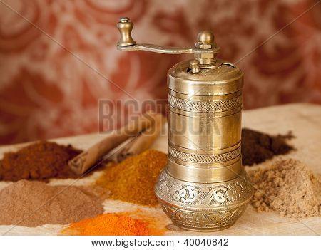 Golden Turkish Spice Mill