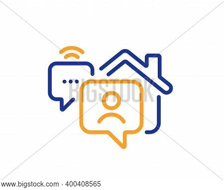 Work At Home Line Icon. Outsource Job Sign. Remote Office Employee Symbol. Quality Design Element. L