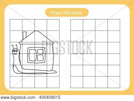 Copy The Picture Of Snail - Use The Grid And Example. Educational Game For Children. Handwriting And