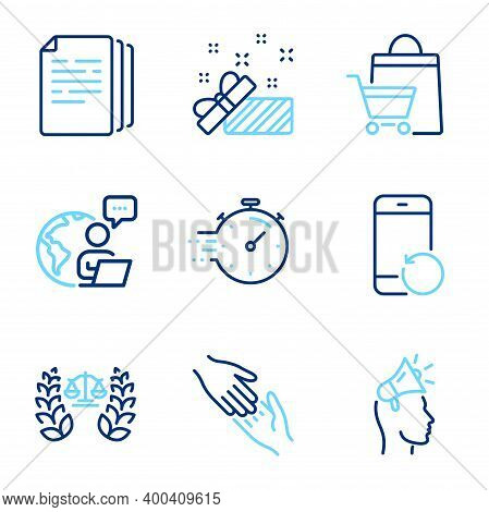 Business Icons Set. Included Icon As Brand Ambassador, Copy Documents, Helping Hand Signs. Recovery